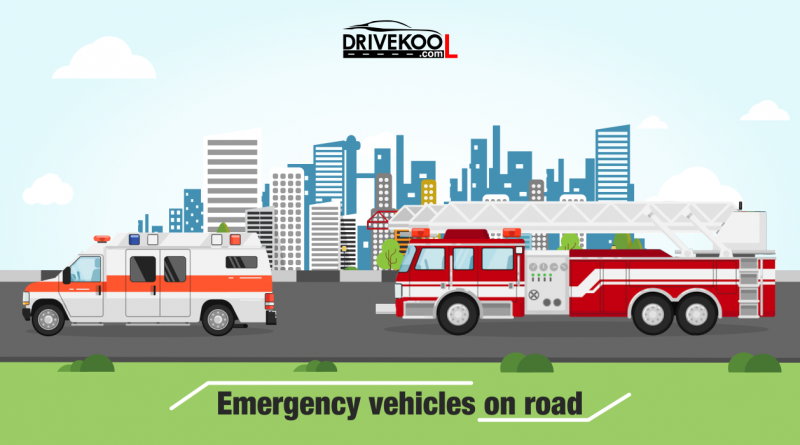 Emergency vehicles on road